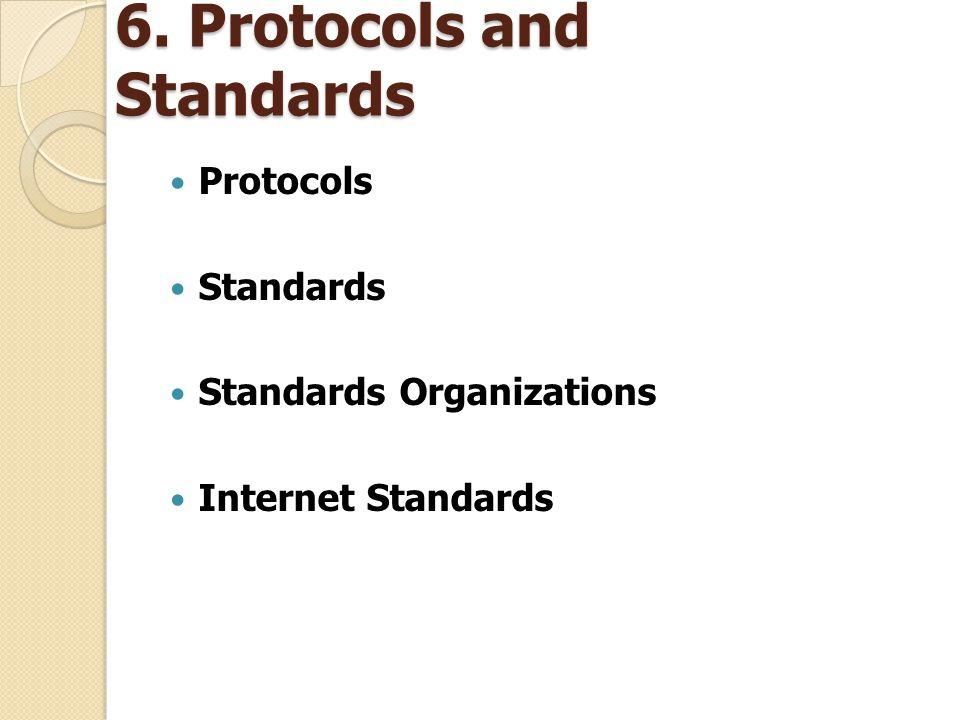 6. Protocols and Standards Protocols Standards Standards Organizations Internet Standards