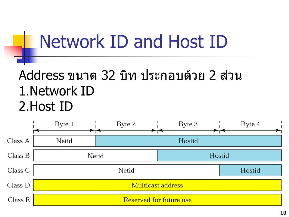 Network ID and Host ID 10 Address ขนาด 32 บิท ประกอบด้วย 2 ส่วน 1.Network ID 2.Host ID
