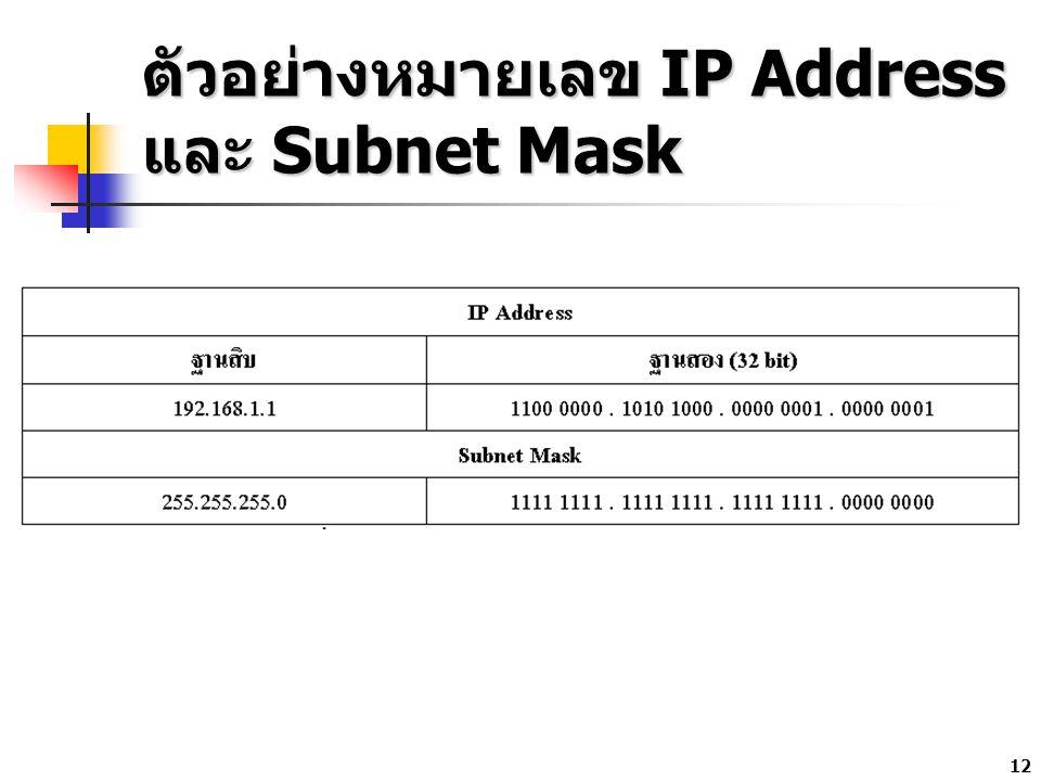 12 ตัวอย่างหมายเลข IP Address และ Subnet Mask