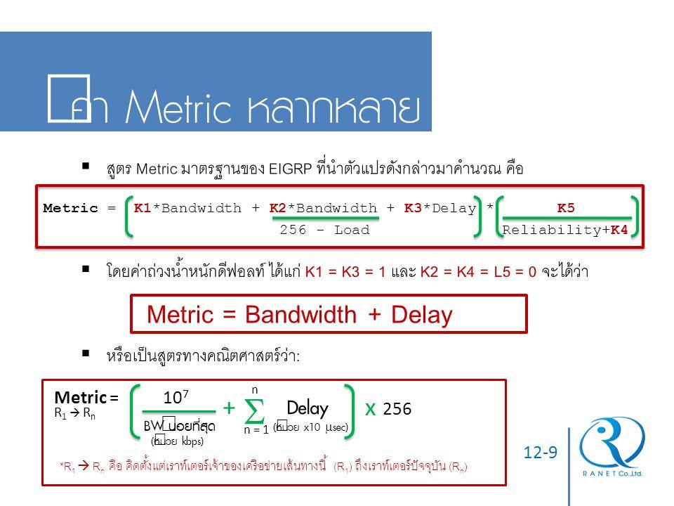 12-9 ค่า Metric หลากหลาย  สูตร Metric มาตรฐานของ EIGRP ที่นำตัวแปรดังกล่าวมาคำนวณ คือ Metric = K1*Bandwidth + K2*Bandwidth + K3*Delay * K5 256 - Load