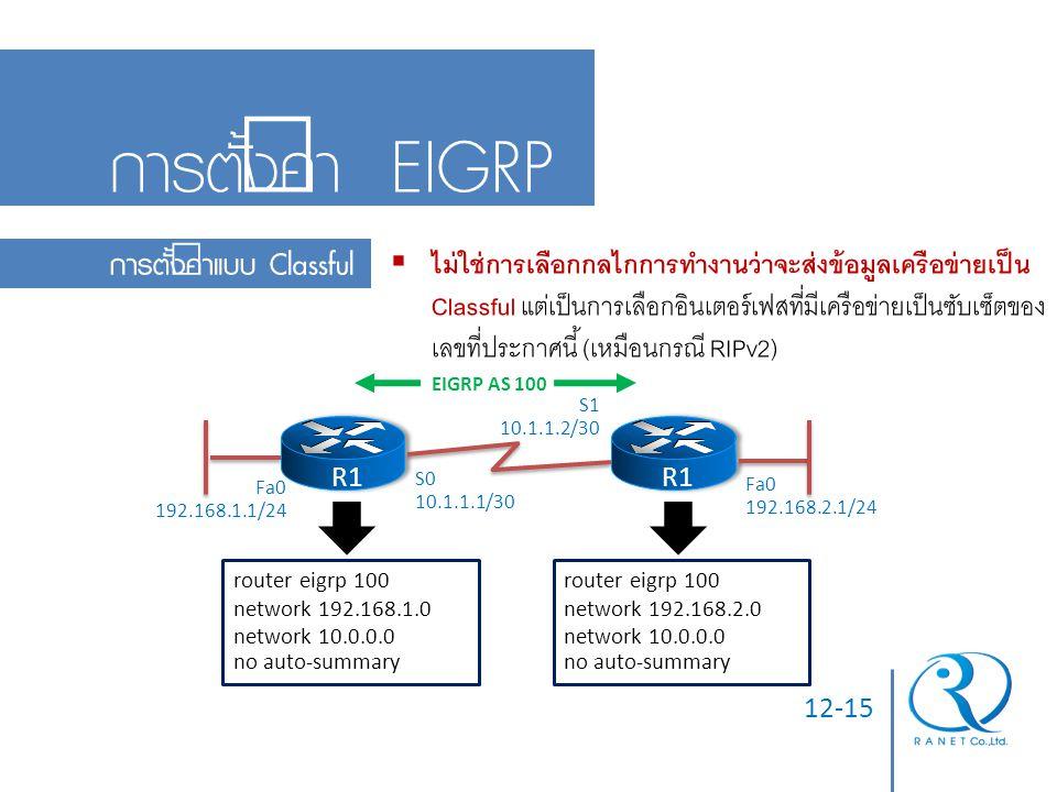 12-15 การตั้งค่า EIGRP การตั้งค่าแบบ Classful  ไม่ใช่การเลือกกลไกการทำงานว่าจะส่งข้อมูลเครือข่ายเป็น Classful แต่เป็นการเลือกอินเตอร์เฟสที่มีเครือข่า