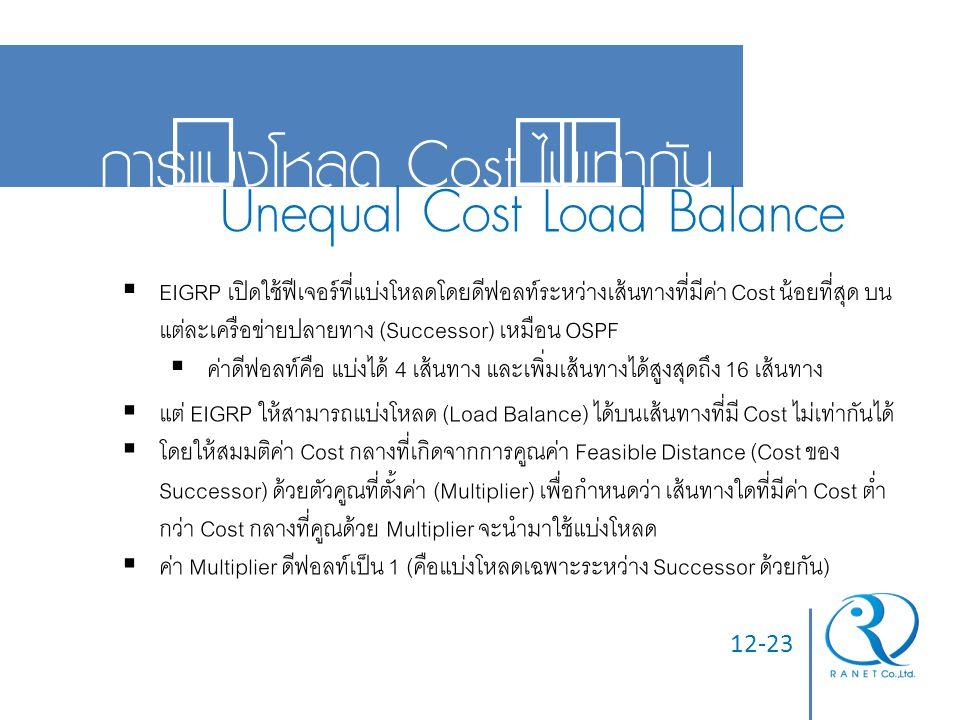 12-23 การแบ่งโหลด Cost ไม่เท่ากัน Unequal Cost Load Balance  EIGRP เปิดใช้ฟีเจอร์ที่แบ่งโหลดโดยดีฟอลท์ระหว่างเส้นทางที่มีค่า Cost น้อยที่สุด บน แต่ละ