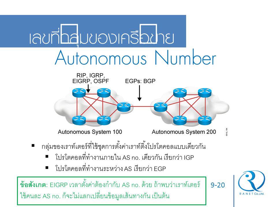 9-20 เลขที่กลุ่มของเครือข่าย Autonomous Number  กลุ่มของเราท์เตอร์ที่ใช้ชุดการตั้งค่าเราท์ติ้งโปรโตคอลแบบเดียวกัน  โปรโตคอลที่ทำงานภายใน AS no. เดีย