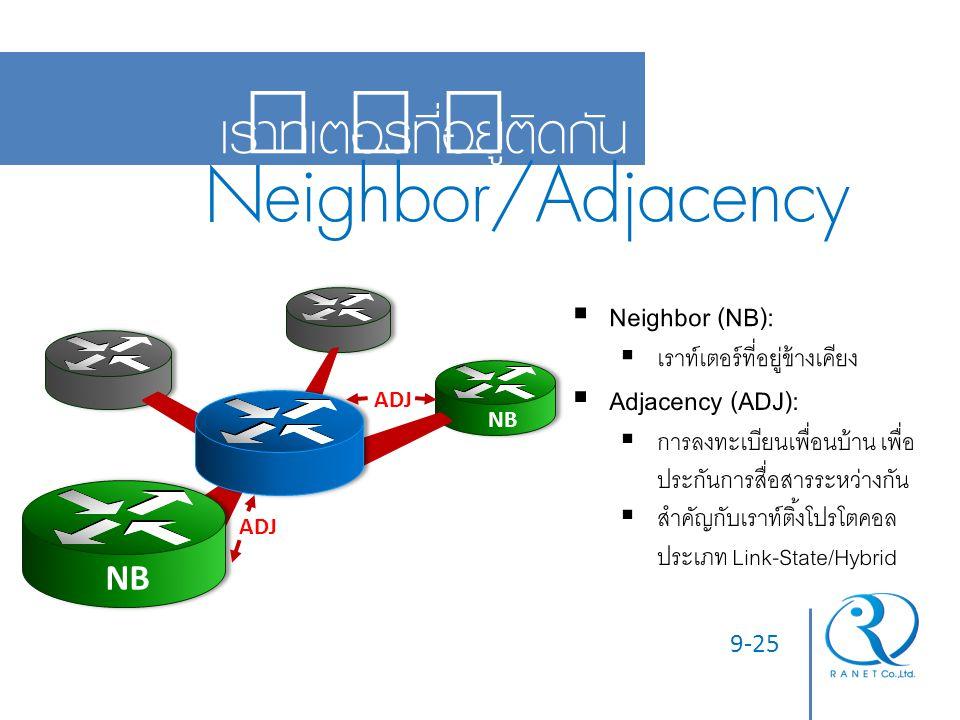 9-25 เราท์เตอร์ที่อยู่ติดกัน Neighbor/Adjacency NB  Neighbor (NB):  เราท์เตอร์ที่อยู่ข้างเคียง  Adjacency (ADJ):  การลงทะเบียนเพื่อนบ้าน เพื่อ ประ
