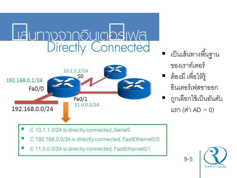 9-6 เส้นทางกำหนดตายตัว Static Route 192.168.0.1/24 10.1.1.2/24 11.0.0.2/24 11.0.0.1/24 Router Console Router(config)# ip route 52.30.7.0 255.255.255.0 11.0.0.1  S 52.30.7.0/24 [1/0] via 11.0.0.1  ใช้คำสั่ง ip route (NetworkID) (NetMask) (NextHop/อินเตอร์เฟส) ในโหมดโกลบัลคอนฟิก  เหมาะกับเส้นทางน้อยๆ  ถูกเลือกใช้เป็นอันดับต่อมา (ค่า AD = 1)