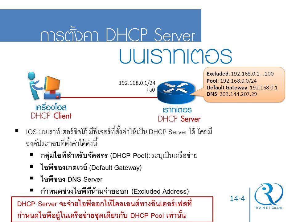 14-4 การตั้งค่า DHCP Server บนเราท์เตอร์ Fa0 192.168.0.1/24 เครื่องโฮส เราท์เตอร์ DHCP Client DHCP Server Excluded: 192.168.0.1 -.100 Pool: 192.168.0.