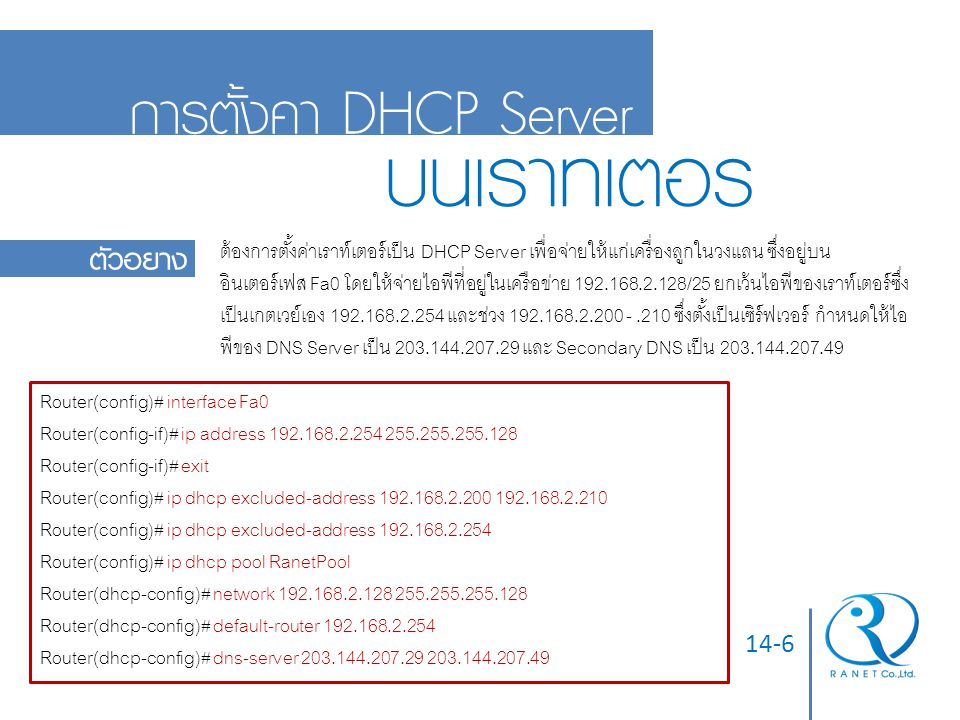 14-7 การทวนสอบ  ใช้คำสั่ง show ip dhcp pool ในโหมดอีนาเบิล เพื่อแสดงสถานะของ DHCP Server Router# show ip dhcp pool Pool RanetPool : Utilization mark (high/low) : 100 / 0 Subnet size (first/next) : 0 / 0 Total addresses : 254 Leased addresses : 6 Pending event : none 1 subnet is currently in the pool : Current index IP address range Leased addresses 192.168.2.199 192.168.2.1 - 192.168.2.254 6