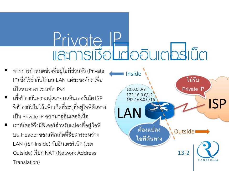 13-2 Private IP และการเชื่อมต่ออินเตอร์เน็ต ISP LAN 10.0.0.0/8 172.16.0.0/12 192.168.0.0/16 ไม่รับ Private IP ต้องแปลง ไอพีต้นทาง Inside Outside  จาก