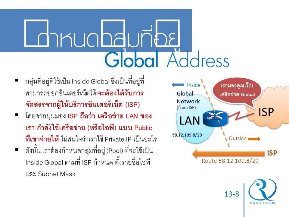 13-8 กำหนดกลุ่มที่อยู่ Global Address Global Network (from ISP) 58.12.109.8/29 Route 58.12.109.8/29 ISP  กลุ่มที่อยู่ที่ใช้เป็น Inside Global ซึ่งเป็
