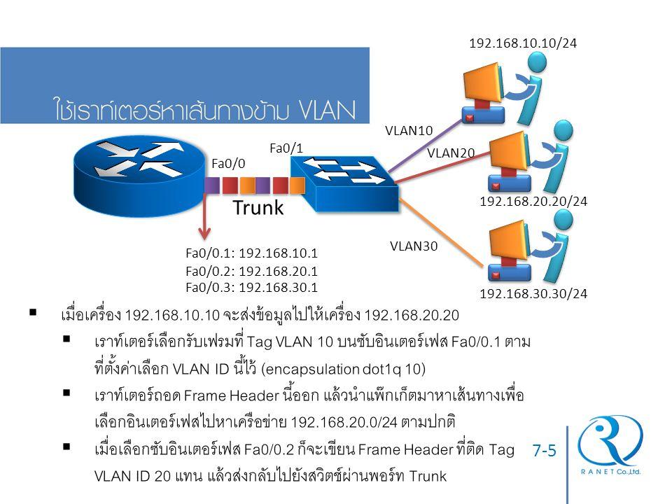 7-6  การตั้งค่าที่จำเป็น Router Console Router(config)# interface fa0/0 Router(config-if)# interface fa0/0.1 Router(config-subif)# encapsulation dot1q 10 Router(config-subif)# ip address 192.168.10.1 255.255.255.0 Router(config-subif)# interface fa0/0.2 ….(ทำต่อลักษณะเดียวกัน) Switch Console Switch(config)# interface fa0/1 Switch(config-if)# switchport mode trunk