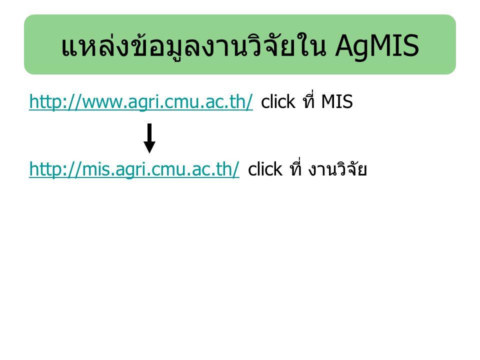 http://www.agri.cmu.ac.th/http://www.agri.cmu.ac.th/ click ที่ MIS http://mis.agri.cmu.ac.th/http://mis.agri.cmu.ac.th/ click ที่ งานวิจัย แหล่งข้อมูล
