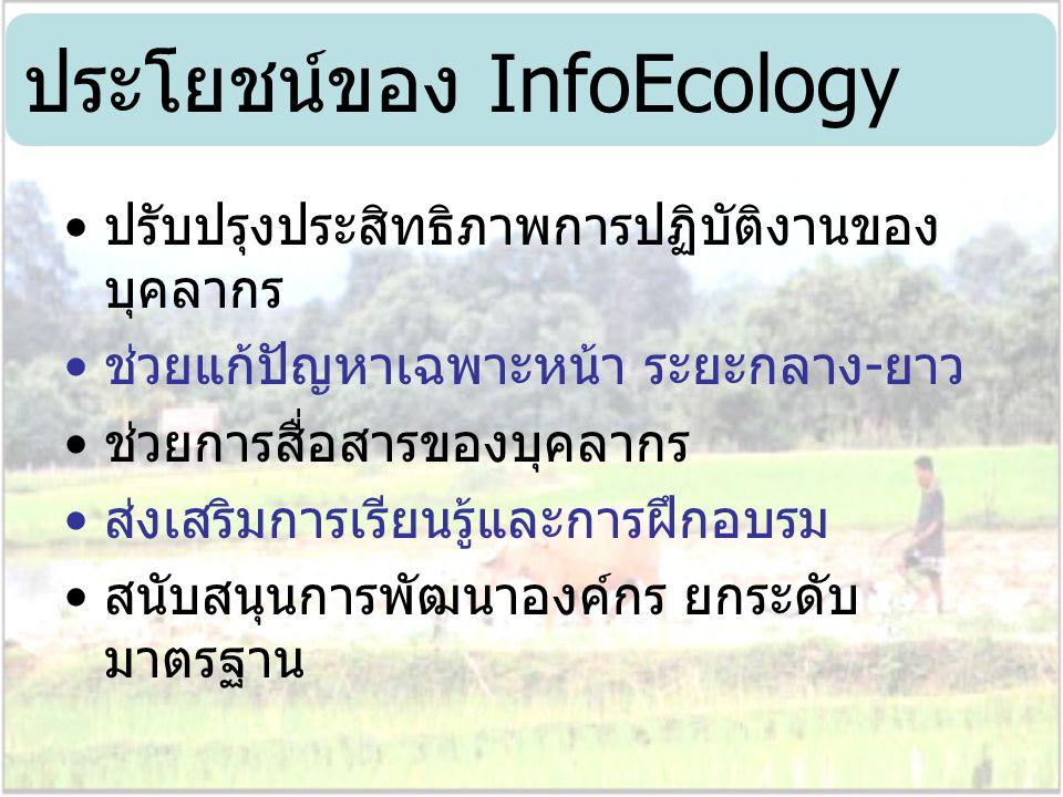 ประโยชน์ของ InfoEcology ปรับปรุงประสิทธิภาพการปฏิบัติงานของ บุคลากร ช่วยแก้ปัญหาเฉพาะหน้า ระยะกลาง-ยาว ช่วยการสื่อสารของบุคลากร ส่งเสริมการเรียนรู้และ