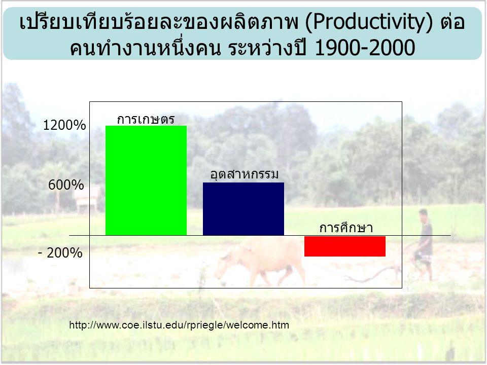เปรียบเทียบร้อยละของผลิตภาพ (Productivity) ต่อ คนทำงานหนึ่งคน ระหว่างปี 1900-2000 1200% 600% - 200% การเกษตร อุตสาหกรรม การศึกษา http://www.coe.ilstu.