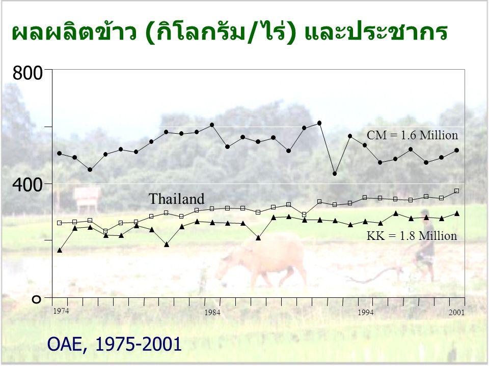 ผลผลิตข้าว (กิโลกรัม/ไร่) และประชากร ๐ 800 Thailand KK = 1.8 Million CM = 1.6 Million 1974 OAE, 1975-2001 1984 19942001 400