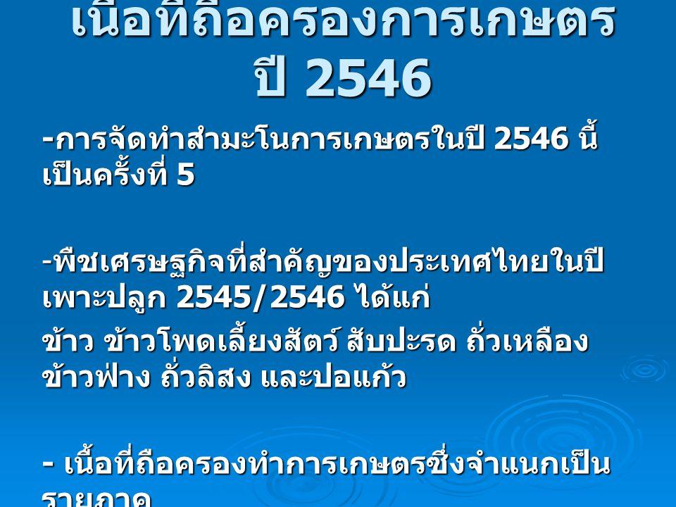 เนื้อที่ถือครองการเกษตร ปี 2546 - การจัดทำสำมะโนการเกษตรในปี 2546 นี้ เป็นครั้งที่ 5 - พืชเศรษฐกิจที่สำคัญของประเทศไทยในปี เพาะปลูก 2545/2546 ได้แก่ ข
