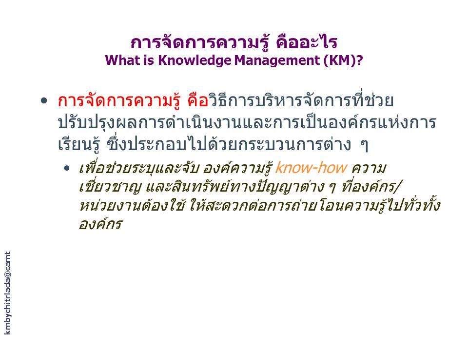 kmbychitrlada@camt การจัดการความรู้ คืออะไร What is Knowledge Management (KM)? การจัดการความรู้ คือวิธีการบริหารจัดการที่ช่วย ปรับปรุงผลการดำเนินงานแล