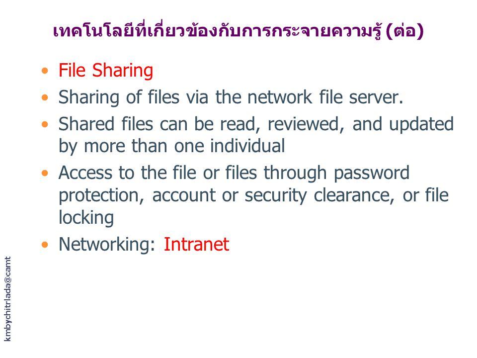 เทคโนโลยีที่เกี่ยวข้องกับการกระจายความรู้ (ต่อ) File Sharing Sharing of files via the network file server. Shared files can be read, reviewed, and upd