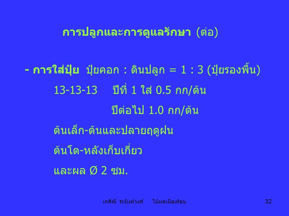 เกศิณี ระมิงค์วงศ์ ไม้ผลเมืองร้อน 32 การปลูกและการดูแลรักษา (ต่อ) - การใส่ปุ๋ย ปุ๋ยคอก : ดินปลูก = 1 : 3 (ปุ๋ยรองพื้น) 13-13-13 ปีที่ 1 ใส่ 0.5 กก/ต้น