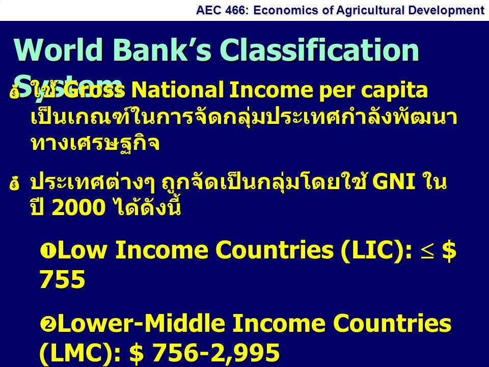 AEC 466: Economics of Agricultural Development World Bank's Classification System ใใใใช้ Gross National Income per capita เป็นเกณฑ์ในการจัดกลุ่มประเทศกำลังพัฒนา ทางเศรษฐกิจ ปปปประเทศต่างๆ ถูกจัดเป็นกลุ่มโดยใช้ GNI ใน ปี 2000 ได้ดังนี้  L L L Low Income Countries (LIC):  $ 755  L L L Lower-Middle Income Countries (LMC): $ 756-2,995  U U U Upper-Middle Income Countries (UMC): $ 2,995-9,265  H H H High Income Countries:  $ 9,266
