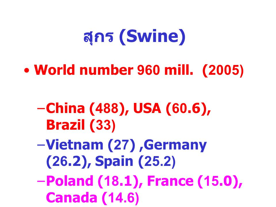 สุกร (Swine) World number 960 mill.