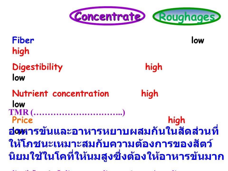 Concentrate Roughages Fiber low high Digestibility high low Nutrient concentration high low Price high low TMR (…………………………..) อาหารข้นและอาหารหยาบผสมก