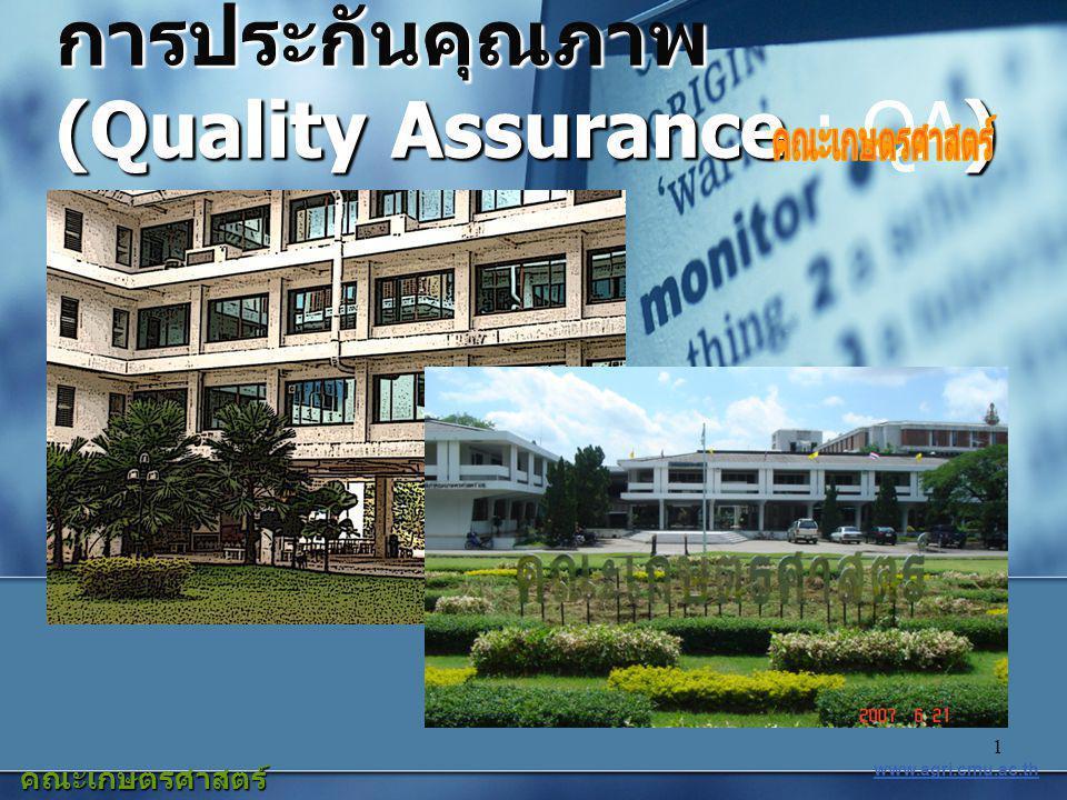 1 การประกันคุณภาพ (Quality Assurance) การประกันคุณภาพ (Quality Assurance : QA) การประกันคุณภาพ (Quality (Quality Assurance Assurance : ) QA) www.agri.cmu.ac.th คณะเกษตรศาสตร์ มหาวิทยาลัยเชียงใหม่