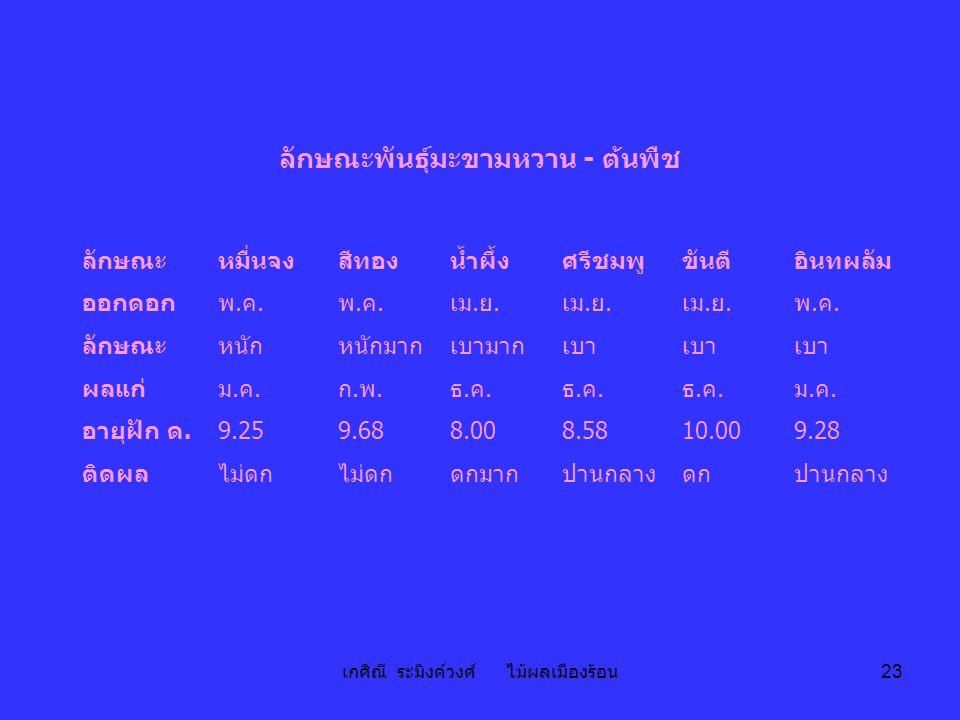 เกศิณี ระมิงค์วงศ์ ไม้ผลเมืองร้อน 23 ลักษณะพันธุ์มะขามหวาน - ต้นพืช ลักษณะหมื่นจงสีทองน้ำผึ้งศรีชมพูขันตีอินทผลัม ออกดอกพ.ค.พ.ค. พ.ค.พ.ค. เม. ย. พ.ค.พ
