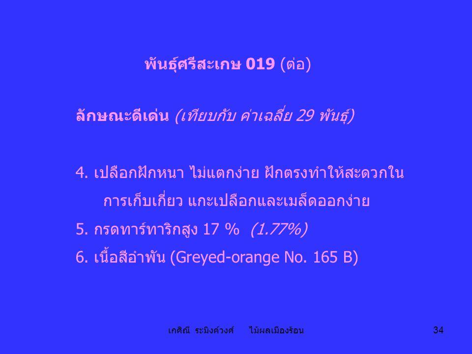 เกศิณี ระมิงค์วงศ์ ไม้ผลเมืองร้อน 34 พันธุ์ศรีสะเกษ 019 (ต่อ) ลักษณะดีเด่น (เทียบกับ ค่าเฉลี่ย 29 พันธุ์) 4. เปลือกฝักหนา ไม่แตกง่าย ฝักตรงทำให้สะดวกใ