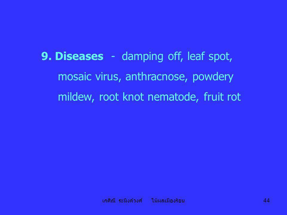 เกศิณี ระมิงค์วงศ์ ไม้ผลเมืองร้อน 44 9. Diseases - damping off, leaf spot, mosaic virus, anthracnose, powdery mildew, root knot nematode, fruit rot