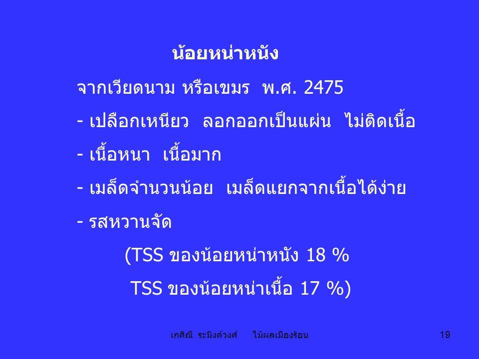 เกศิณี ระมิงค์วงศ์ ไม้ผลเมืองร้อน 19 น้อยหน่าหนัง จากเวียดนาม หรือเขมร พ.ศ. 2475 - เปลือกเหนียว ลอกออกเป็นแผ่น ไม่ติดเนื้อ - เนื้อหนา เนื้อมาก - เมล็ด