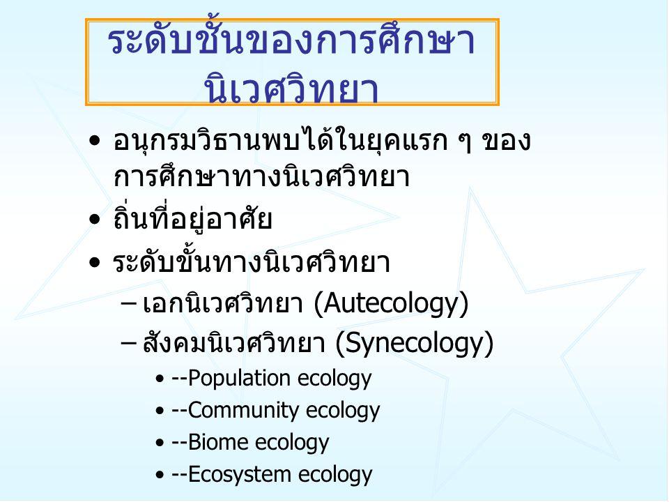 ระดับชั้นของการศึกษา นิเวศวิทยา อนุกรมวิธานพบได้ในยุคแรก ๆ ของ การศึกษาทางนิเวศวิทยา ถิ่นที่อยู่อาศัย ระดับขั้นทางนิเวศวิทยา – เอกนิเวศวิทยา (Autecolo