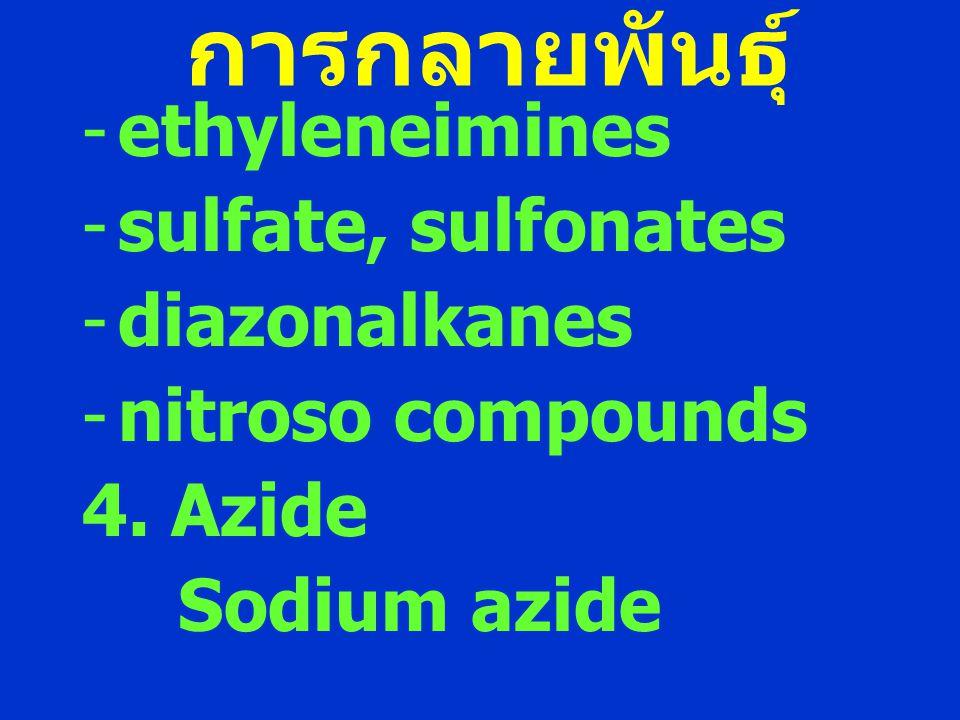 การกลายพันธุ์ -ethyleneimines -sulfate, sulfonates -diazonalkanes -nitroso compounds 4. Azide Sodium azide