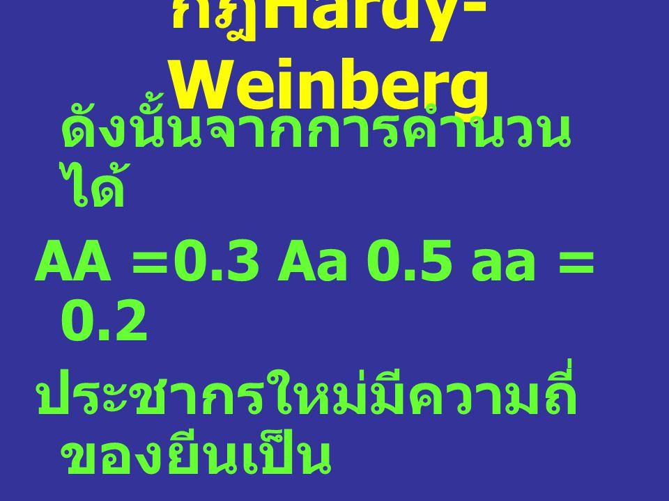 กฎ Hardy- Weinberg ดังนั้นจากการคำนวน ได้ AA =0.3 Aa 0.5 aa = 0.2 ประชากรใหม่มีความถี่ ของยีนเป็น A = 0.3 + 0.5/2 = 0.55 a = 0.2 + 0.5/2= 0.45