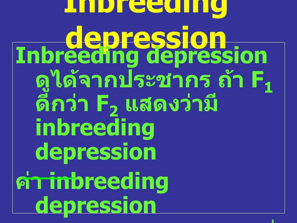 Inbreeding depression Inbreeding depression ดูได้จากประชากร ถ้า F 1 ดีกว่า F 2 แสดงว่ามี inbreeding depression ค่า inbreeding depression = F 1 – F 2 โ