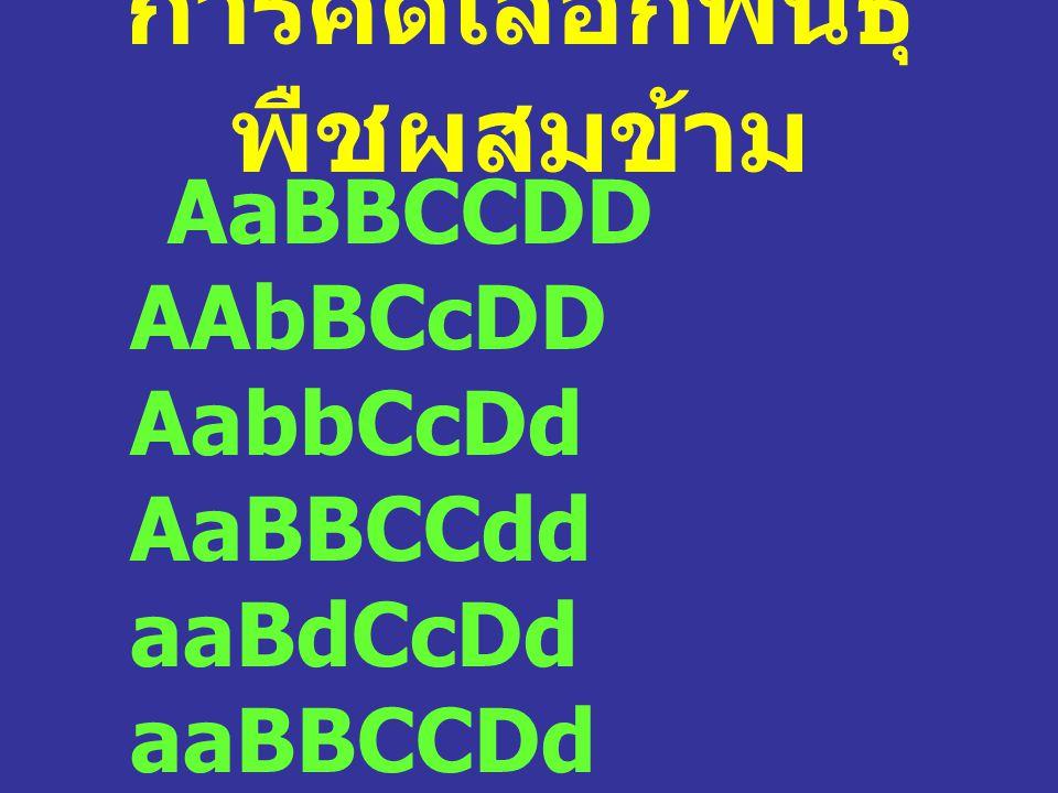 การคัดเลือกพันธุ์ พืชผสมข้าม AaBBCCDD AAbBCcDD AabbCcDd AaBBCCdd aaBdCcDd aaBBCCDd AAbbCcDd AabbccDd …….. Aabbccdd ประชากรเป็น heterogenous population