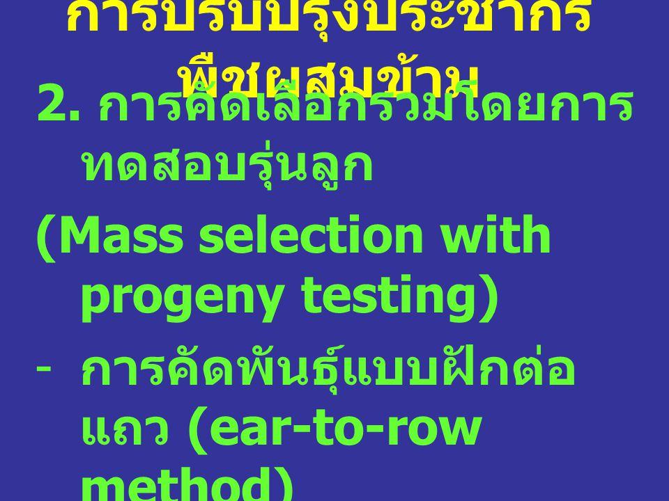 การปรับปรุงประชากร พืชผสมข้าม 2. การคัดเลือกรวมโดยการ ทดสอบรุ่นลูก (Mass selection with progeny testing) - การคัดพันธุ์แบบฝักต่อ แถว (ear-to-row metho
