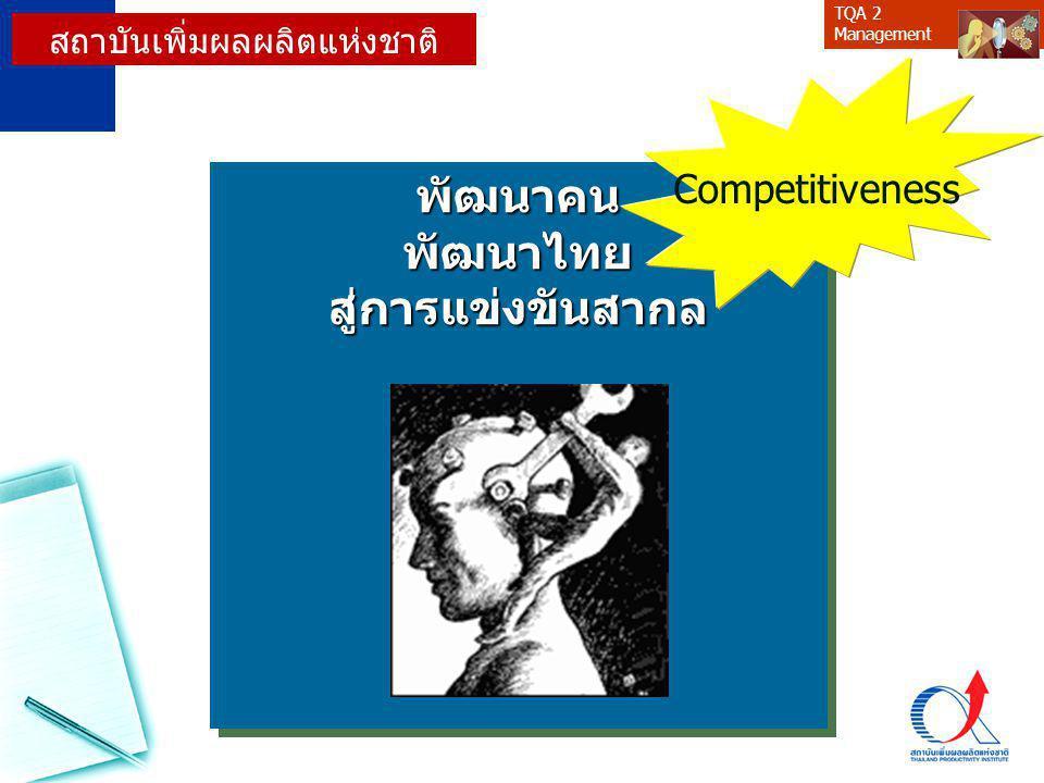 TQA 2 Managementพัฒนาคนพัฒนาไทยสู่การแข่งขันสากลพัฒนาคนพัฒนาไทยสู่การแข่งขันสากล Competitiveness สถาบันเพิ่มผลผลิตแห่งชาติ