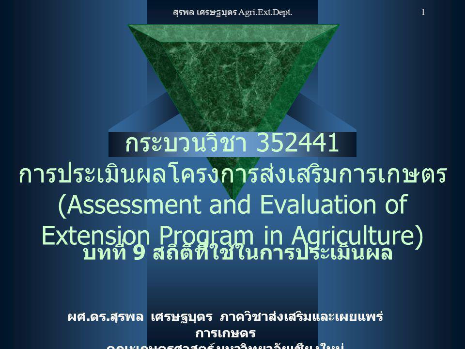 สุรพล เศรษฐบุตร Agri.Ext.Dept. 1 กระบวนวิชา 352441 การประเมินผลโครงการส่งเสริมการเกษตร (Assessment and Evaluation of Extension Program in Agriculture)