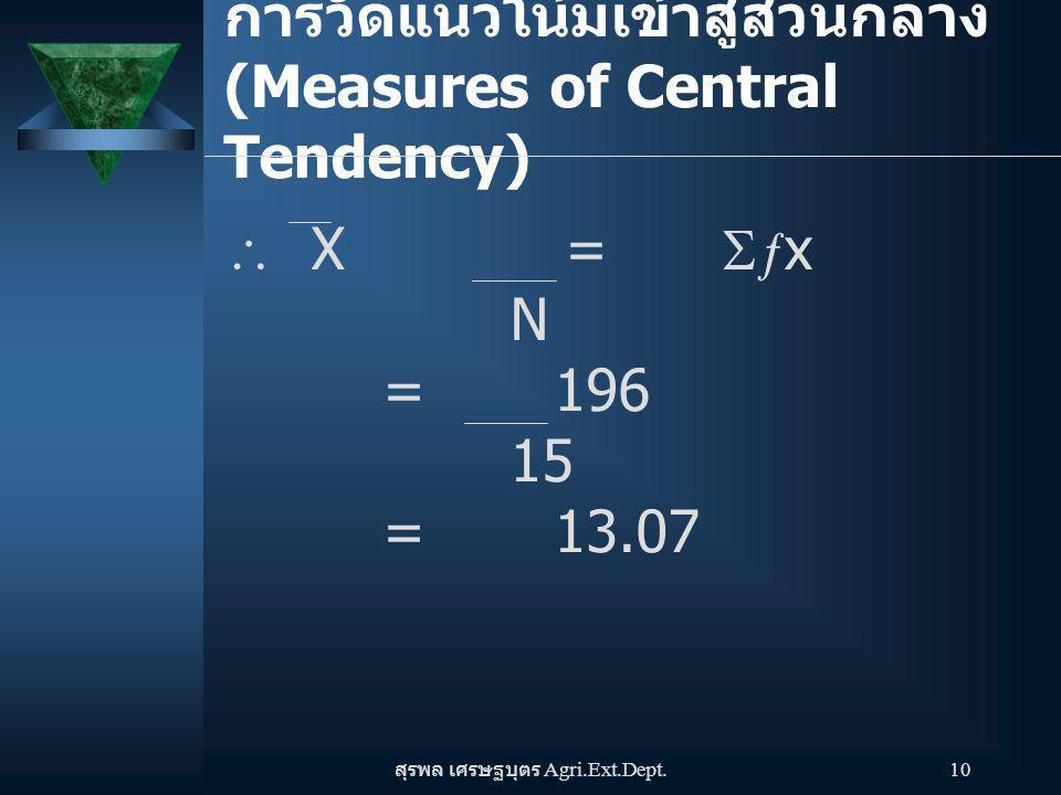 สุรพล เศรษฐบุตร Agri.Ext.Dept. 10 การวัดแนวโน้มเข้าสู่ส่วนกลาง (Measures of Central Tendency)  X =   x N = 196 15 = 13.07