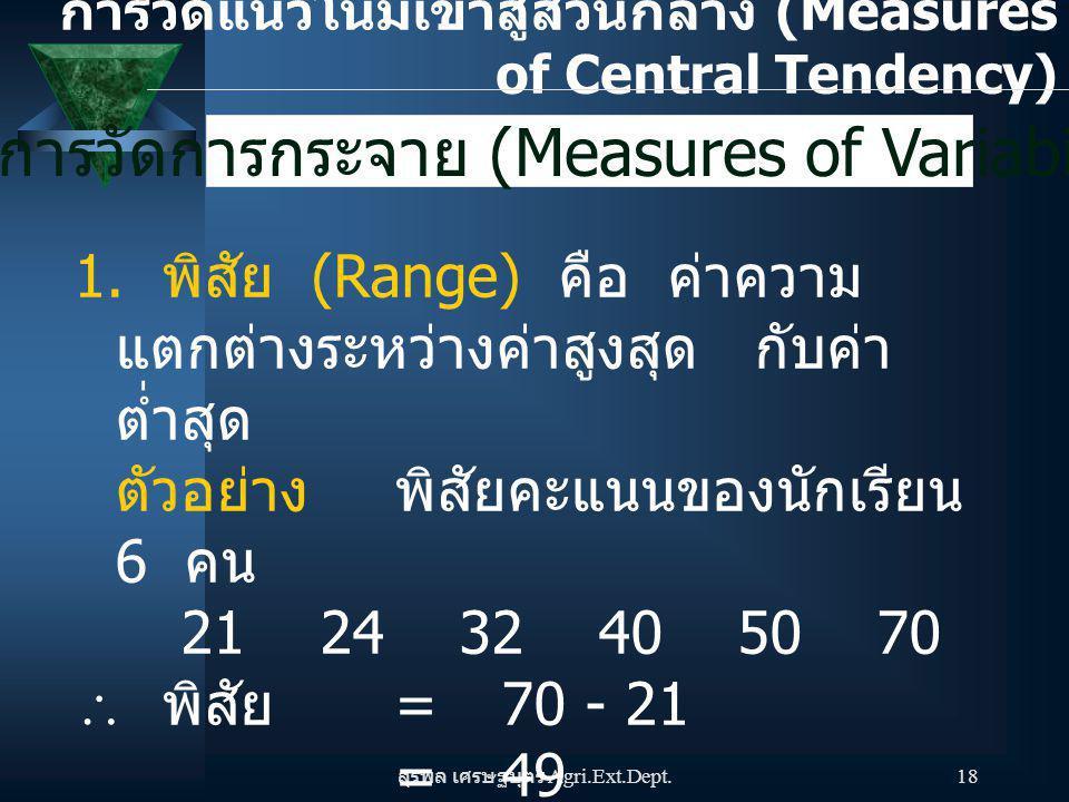 สุรพล เศรษฐบุตร Agri.Ext.Dept. 18 การวัดการกระจาย (Measures of Variability) 1. พิสัย (Range) คือ ค่าความ แตกต่างระหว่างค่าสูงสุด กับค่า ต่ำสุด ตัวอย่า