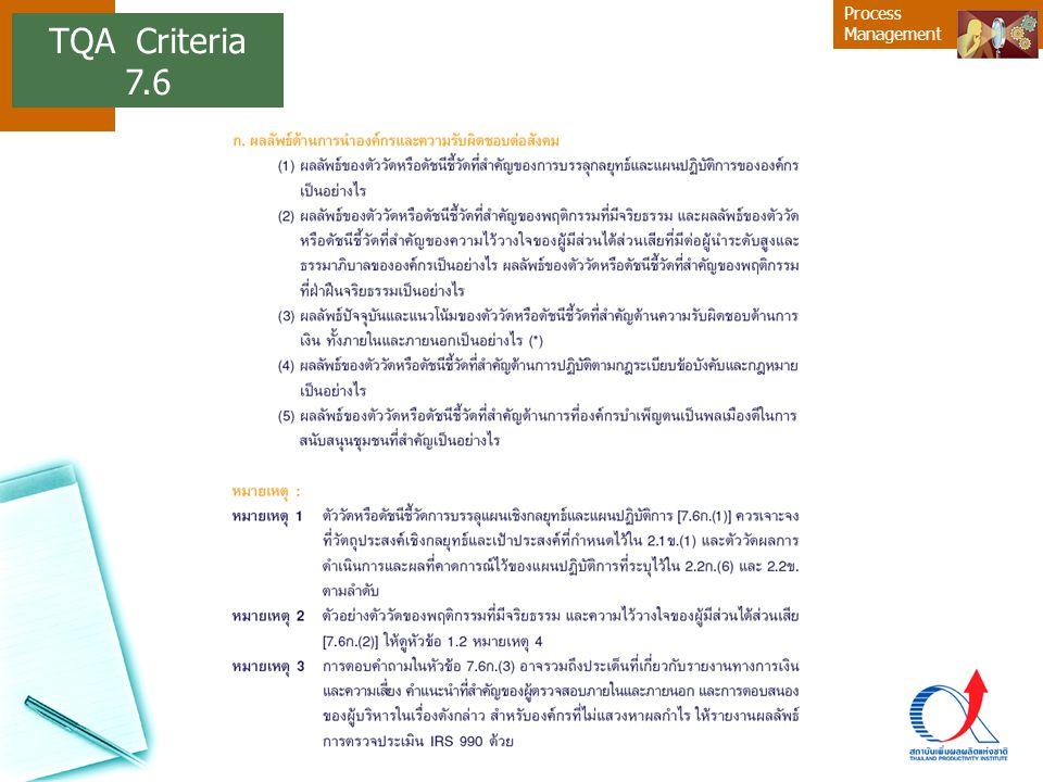 Process Management TQA Criteria 7.6