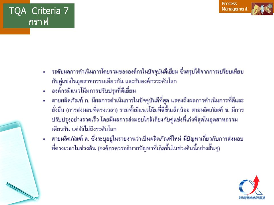 Process Management TQA Criteria 7 กราฟ