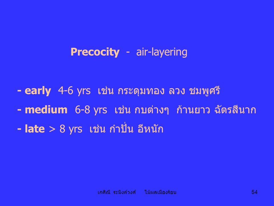 เกศิณี ระมิงค์วงศ์ ไม้ผลเมืองร้อน 54 Precocity - air-layering - early 4-6 yrs เช่น กระดุมทอง ลวง ชมพูศรี - medium 6-8 yrs เช่น กบต่างๆ ก้านยาว ฉัตรสีน