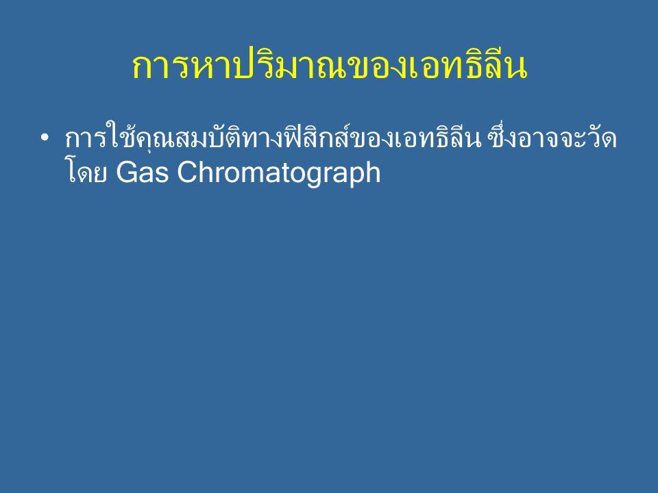 การหาปริมาณของเอทธิลีน การใช้คุณสมบัติทางฟิสิกส์ของเอทธิลีน ซึ่งอาจจะวัด โดย Gas Chromatograph