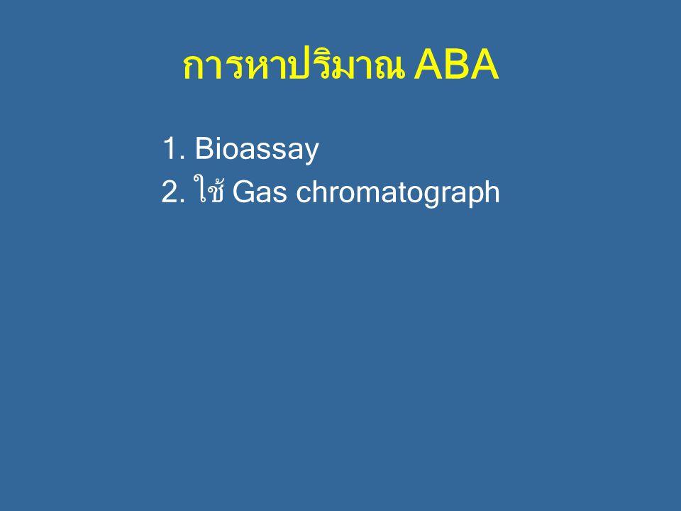 การหาปริมาณ ABA 1. Bioassay 2. ใช้ Gas chromatograph