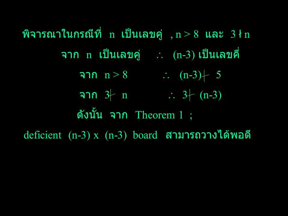 Theorem 2 : เราสามารถวาง trominoes ลงใน deficient n x n board ใด ๆ ได้พอดี ถ้า n เป็นเลข คู่, n > 1 และ 3 n Proof : ในกรณีที่ n = 2,4,8 ; ได้แสดงแล้วใ