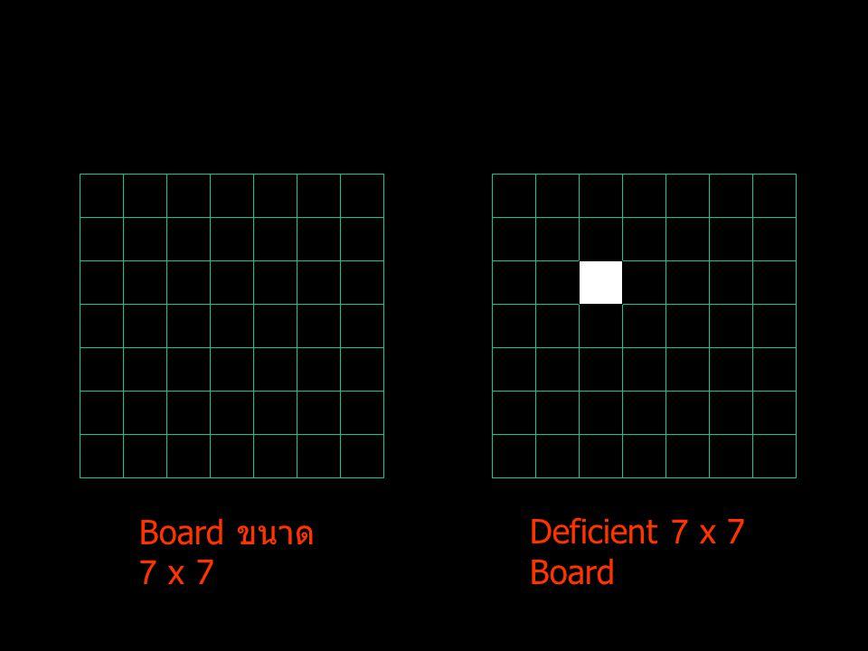 3 x 2 Deficient 5 x 5 2 x 3 พิจารณาการตัดออกแต่ละช่อง ดังนี้ ในกรณีที่ตัดช่อง (1,1) ออกจาก board เราจะ สามารถวางได้พอดี โดย board ย่อยขนาด 3x2 และ 2x3 สามารถวางได้พอดีจาก proposition 3 และ board ย่อยขนาด 5x5 ซึ่งตัดช่องตรงมุมออกสามารถวางได้ พอดีจาก proposition2