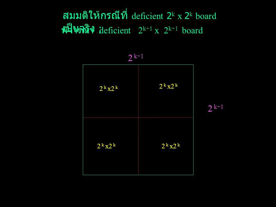 Proposition 1 : ทุก ๆ deficient 2 k x 2 k board ; k > 1 จะ สามารถวางได้พอดี Proof : จะแสดงการพิสูจน์โดย induction กรณีที่ k=1 ; เราจะได้ deficient 2 x