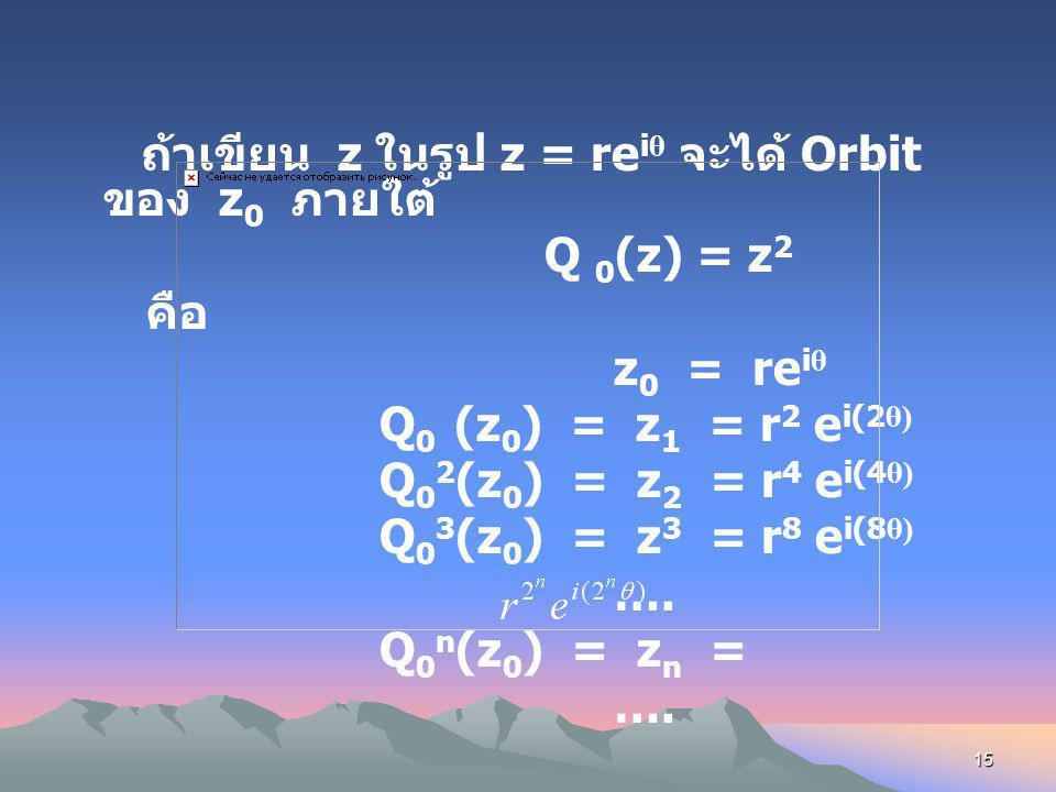 14 Julia Set (Gaston Julia) เป็น การศึกษาถึงการส่งของ ฟังก์ชันที่มีการทำซ้ำ ๆ (Iteration) บนระนาบเชิงซ้อน ในเบื้องต้นเราพิจารณาฟังก์ชัน Quadratic โดยเ