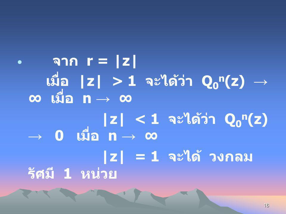 15 ถ้าเขียน z ในรูป z = re i θ จะได้ Orbit ของ z 0 ภายใต้ Q 0 (z) = z 2 คือ z 0 = re i θ Q 0 (z 0 ) = z 1 = r 2 e i(2 θ) Q 0 2 (z 0 ) = z 2 = r 4 e i(